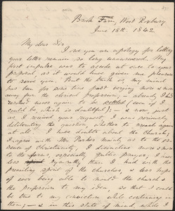 John Sullivan Dwight autograph letter signed to Reverend James Flint, Brook Farm, June 18, 1842