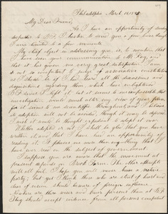 Christopher List autograph letter signed to John Sullivan Dwight, Philadelphia, March 14, 1845