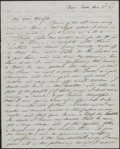 Albert Brisbane autograph letter signed to John Sullivan Dwight, New York, December 2, 1845
