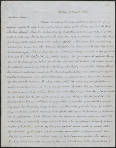 James Kay Jr. autograph letter signed to John Sullivan Dwight, Philadelphia, March 2, 1846