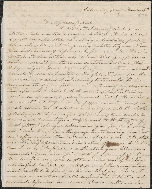 Sophia Willard Dana Ripley autograph letter signed to John Sullivan Dwight, [Brook Farm], March 14, [1846]