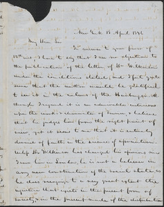Edmund Tweedy autograph letter signed to John Sullivan Dwight, New York, April 18, 1846