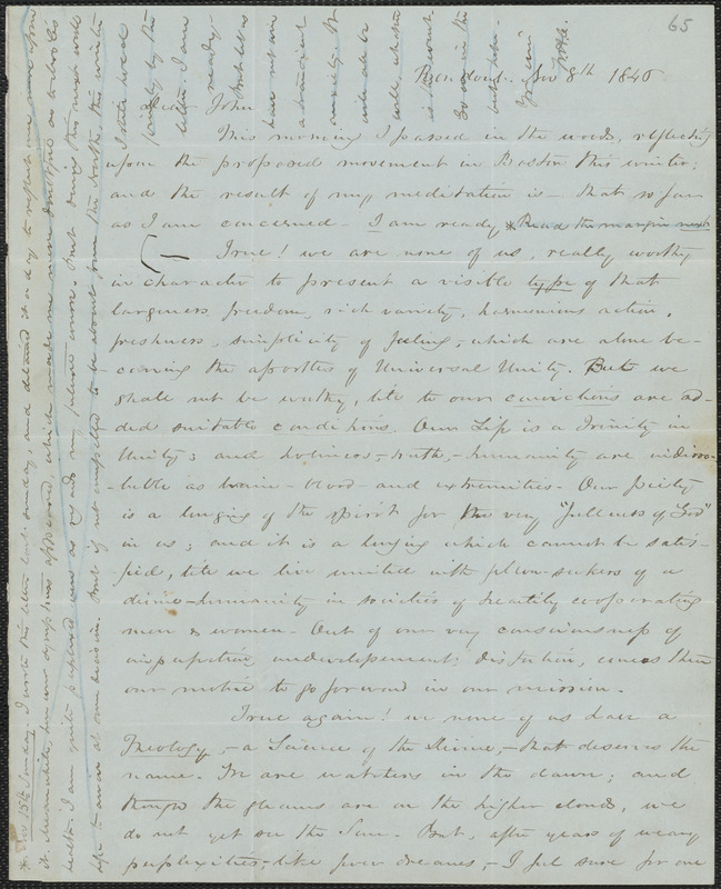 William Henry Channing autograph letter signed to John Sullivan Dwight, Rondout, N.Y., November 8, 1846