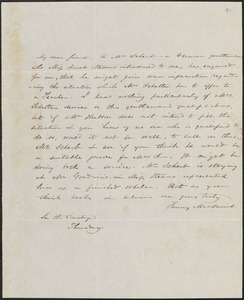 Fanny Macdaniel autograph letter signed to John Sullivan Dwight, [Brook Farm], April 28