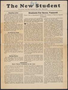 Sacco-Vanzetti Case Records, 1920-1928. Printed Materials. The New Student, May 4, 1927. Box 42, Folder 1, Harvard Law School Library, Historical & Special Collections