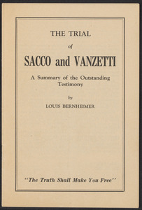 "Sacco-Vanzetti Case Records, 1920-1928. Printed Materials. Louis Bernheimer: "" The Trial of Sacco and Vanzetti,"" May 15, 1927. Box 42, Folder 2, Harvard Law School Library, Historical & Special Collections"