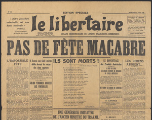 Sacco-Vanzetti Case Records, 1920-1928. Printed Materials. Le Libertaire, August 31, 1927. Box 42, Folder 8, Harvard Law School Library, Historical & Special Collections