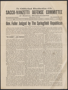 Sacco-Vanzetti Case Records, 1920-1928. Printed Materials. Defense Committee Bulletin, August, 1927. Box 42, Folder 10, Harvard Law School Library, Historical & Special Collections