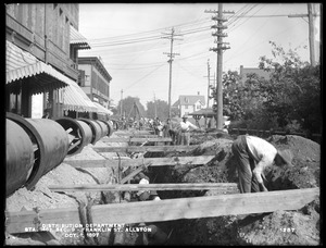 Distribution Department, Low Service Pipe Lines, Section 9, trench work on Franklin Street, station 146+, from the south, in Cambridge Street, Allston, Mass., Oct. 1, 1897