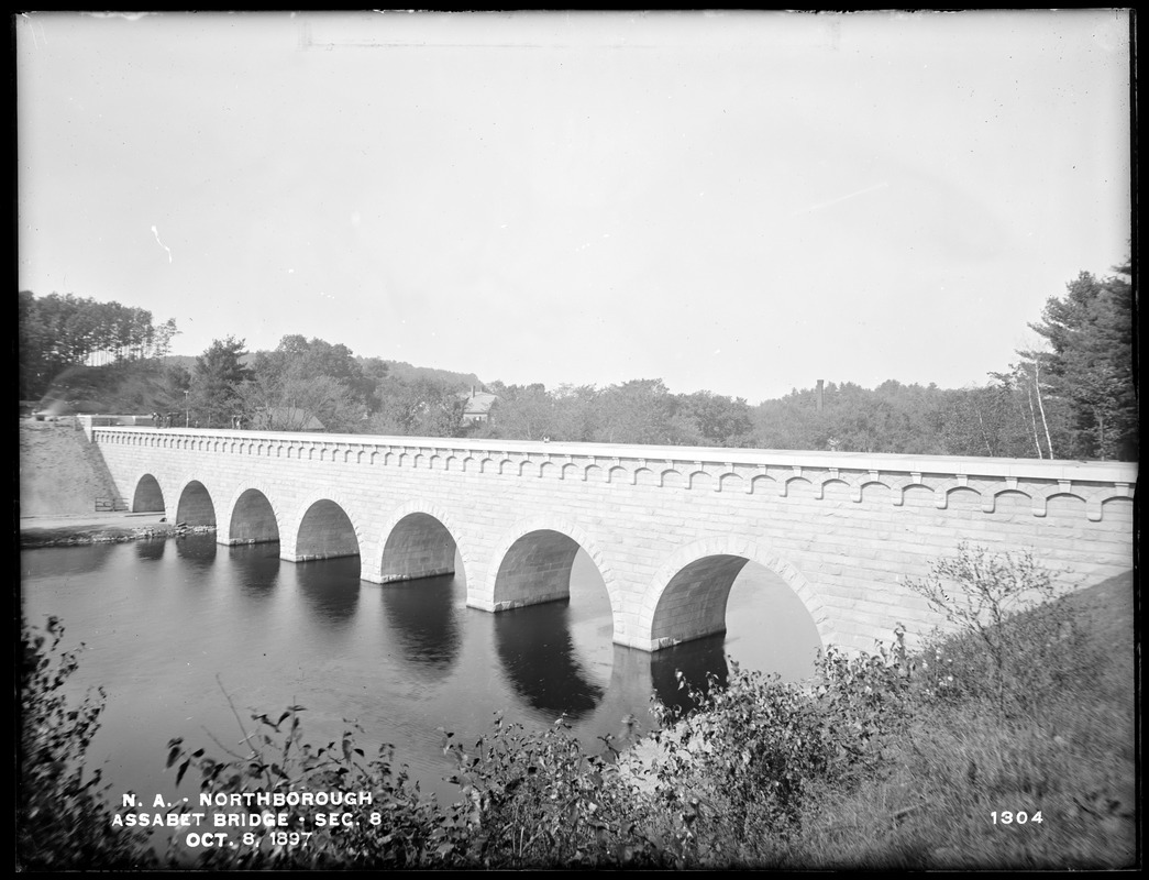 Wachusett Aqueduct, Assabet Bridge, Section 8, from the south, on east bank (this is a little different position from No. 1303), Northborough, Mass., Oct. 8, 1897
