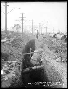 Distribution Department, Southern High Service Pipe Line, Section 23, trench, station 64+, Commonwealth Avenue, opposite South Street, from the east, Newton, Mass., Oct. 19, 1897