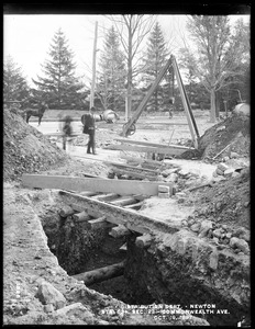 Distribution Department, Southern High Service Pipe Line, Section 23, trench at railroad crossing, station 63+, Commonwealth Avenue, opposite South Street, from the north, Newton, Mass., Oct. 19, 1897