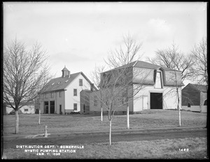 Distribution Department, Mystic Pumping Station, stable and storage barn, Somerville, Mass., Jan. 11, 1898