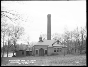 Distribution Department, Melrose Pumping Station, eastern shore south of Malden Pumping Station, Stoneham, Mass., Jan. 13, 1898