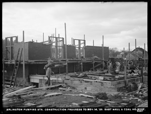Distribution Department, Arlington Pumping Station, construction progress, east wall and coal house roof, Arlington, Mass., Nov. 14, 1906