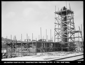 Distribution Department, Arlington Pumping Station, construction progress, east wall, Arlington, Mass., Dec. 14, 1906