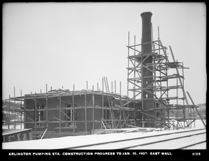 Distribution Department, Arlington Pumping Station, construction progress, east wall, Arlington, Mass., Jan. 15, 1907