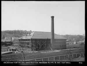 Distribution Department, Arlington Pumping Station, construction progress, east wall, Arlington, Mass., Apr. 15, 1907