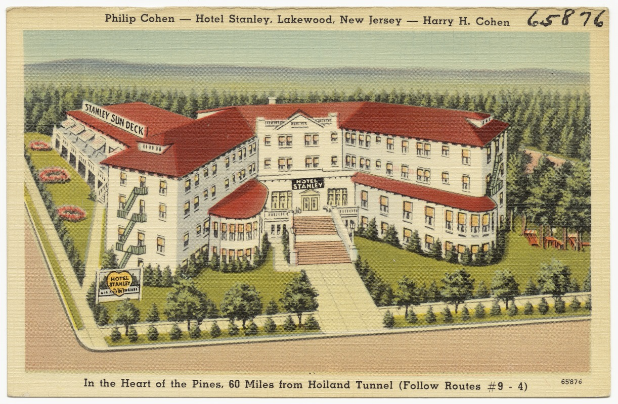 Phillip Cohen Hotel Stanley Lakewood New Jersey Harry H In The Heart Of Pines 60 Miles From Holland Tunnel Follow Routes 9 4