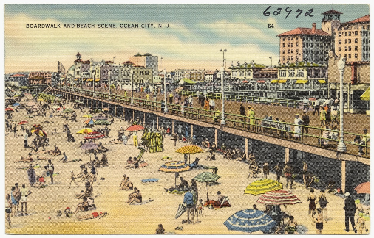 Boardwalk And Beach Scene Ocean City N J
