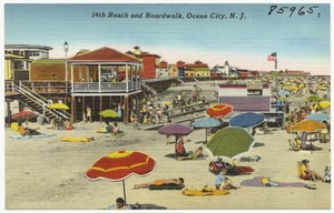 14th beach and boardwalk, Ocean City, N. J.