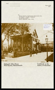 Newton photographs oversize : Allen House : 35 Webster Street / [compiled by the staff of the Newton Free Library]. - Allen House : 35 Webster Street - Nathaniel Allen House West Newton, Massachusetts: Landmark in the History of Education -