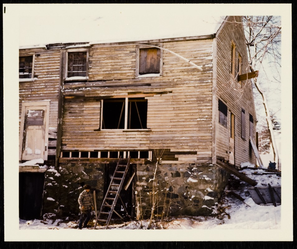 Newton photographs oversize : Allen House : 35 Webster Street / [compiled by the staff of the Newton Free Library]. - Allen House : 35 Webster Street - Exterior of Allen House During Restoration -