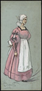 A woman standing in a pink floor-length dress in three-quarter profile