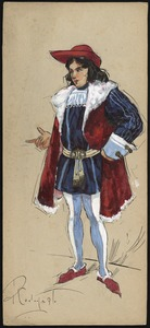 A man stands with a finger pointed, wearing a red hat, blue doublet and hose and a red overgarment