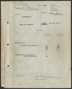 Sacco-Vanzetti Case Records, 1920-1928. Transcripts. Affidavits offered by the defendants. Box 36, Folder 2, Harvard Law School Library, Historical & Special Collections