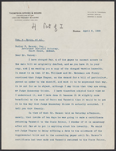Sacco-Vanzetti Case Records, 1920-1928. Prosecution Papers. D.P. Ranney Correspondence, April 1925. Box 23, Folder 5, Harvard Law School Library, Historical & Special Collections
