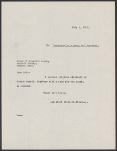 Sacco-Vanzetti Case Records, 1920-1928. Prosecution Papers. D.P. Ranney Correspondence, July 1926. Box 23, Folder 13, Harvard Law School Library, Historical & Special Collections