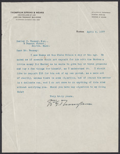 Sacco-Vanzetti Case Records, 1920-1928. Prosecution Papers. D.P. Ranney Correspondence, April 1927. Box 23, Folder 20, Harvard Law School Library, Historical & Special Collections