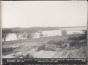 Wachusett Department, Wachusett Reservoir, looking easterly from Thomas Street toward Worcester Street causeway (compare with No. 7301), West Boylston, Mass., May 1, 1916
