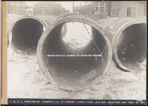 Distribution Department, Low Service Pipe Lines, 30-inch cement lined pipes laid in 1871 in Perkins Street, removed in 1916, Somerville, Mass., Dec. 19, 1916