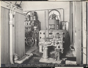 Sudbury Department, Sudbury Dam Hydroelectric Power Plant, 750 KVA transformer, 900 KVA generator with exciter switchboard, hydraulic governor and electric gate stands, Southborough, Mass., Feb. 7, 1917