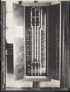 Sudbury Department, Sudbury Dam Hydroelectric Power Plant, control cabinet for lighting and gate operating current, Southborough, Mass., Feb. 7, 1917