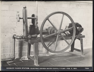 Sudbury Department, Sudbury Dam Hydroelectric Power Plant, electric driven water supply pump, Southborough, Mass., Feb. 7, 1917