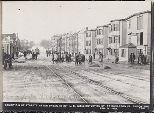 Distribution Department, Low Service Pipe Lines, condition of streets after break in 30-inch main, Boylston Street at Boylston Place, looking west from Cameron Street, Brookline, Mass., Feb. 14, 1917