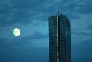 John Hancock Tower & full moon, Boston