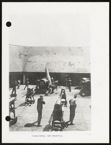 Firing mortar, note projectile