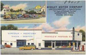 """Nissley Motor Company, Lincoln - Mercury -- Sales & service, """"37 years of reliable service"""", Middletown, Penna."""