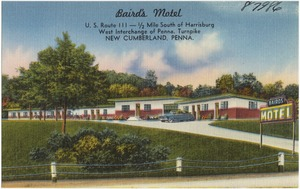 Baird's Motel, U.S. Route 111 - 1/2 miles south of Harrisburg, West Interchange of Penna. Turnpike, New Cumberland, Penna.