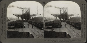 View of ore unloaders at work, Conneaut, Ohio