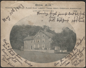 """Bon Air,"" summer recreation place East Liberty Young Men's Christian Association, Logans Ferry Pa, 1906"