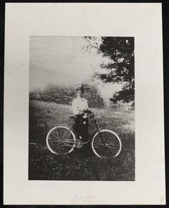 Abbie Conant [Mrs. Everett William Conant] with bicycle