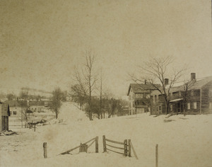 Winter scene: road and houses
