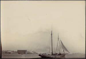 View of a schooner in harbor, possibly the Schooner Kate