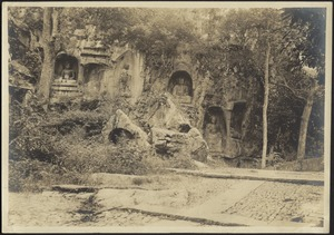 Overgrown shrine with many buddhas carved into cliff face (niches), possibly ruins of an ancient temple