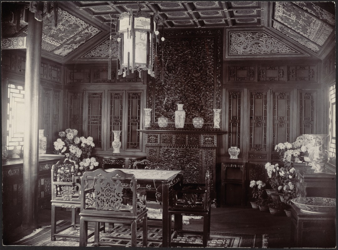 House in Peking, China — Dining Room [Chinese porcelain vases on ...